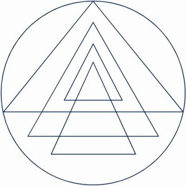 4 triangles pointés vers le haut dans le shri yantra