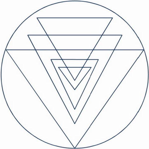 5 triangles du shri yantra pointés vers le bas